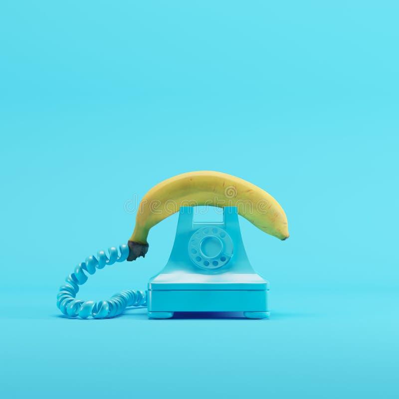 Téléphone de banane avec le téléphone bleu de cru sur le fond en pastel bleu illustration stock