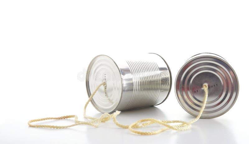 Téléphone de boîte en fer blanc images libres de droits