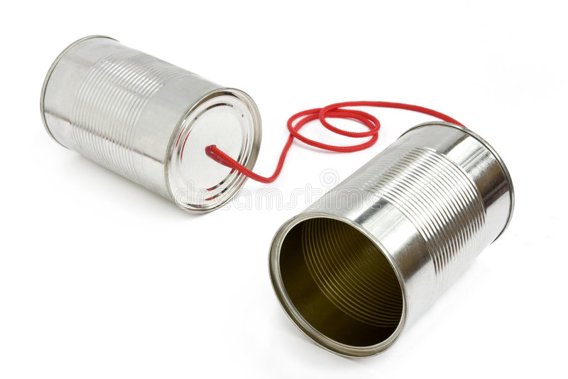 Téléphone de boîte en fer blanc images stock