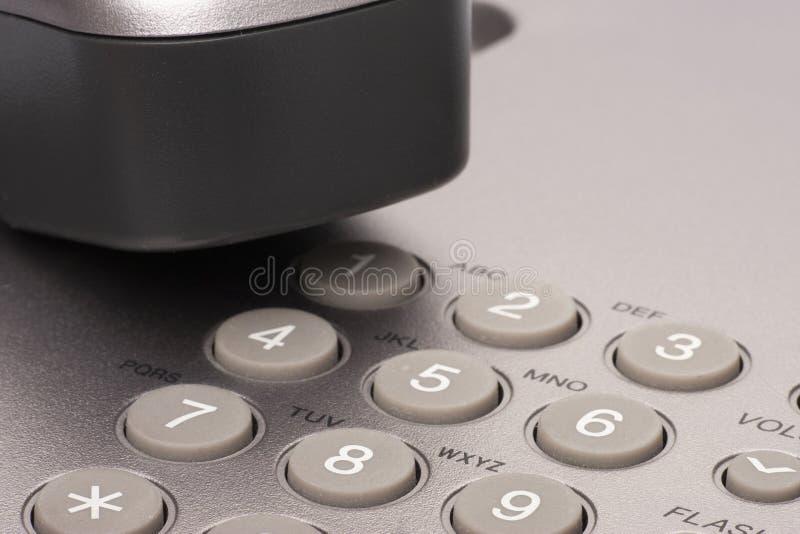 Téléphone de bureau Détail d'écouteur et de clavier numérique image stock
