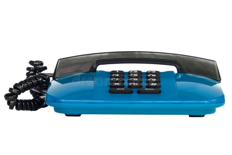 Téléphone de câble par bleu photos libres de droits