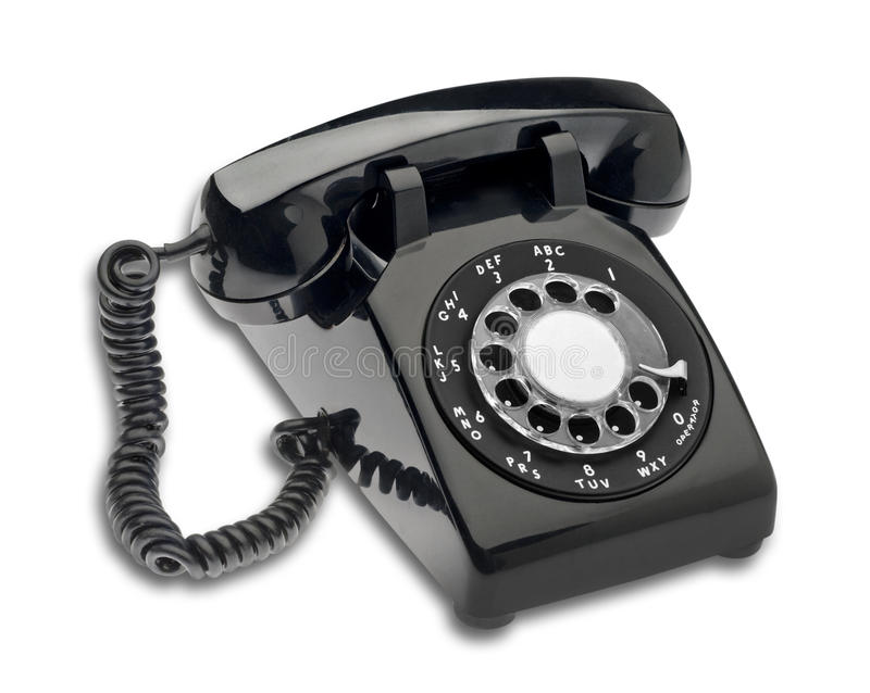 Téléphone de cadran noir, d'isolement photo stock