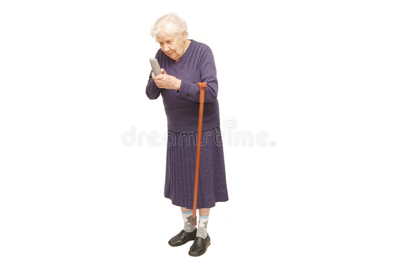 Téléphone de fixation de grand-mère images libres de droits