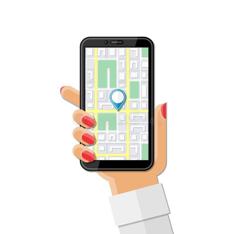 Téléphone de la femme tenant à la main avec GPS mobile illustration de vecteur
