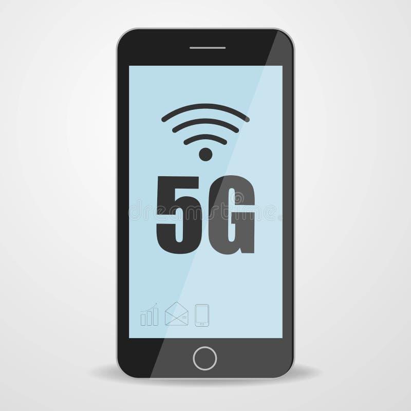 Téléphone de participation d'homme avec le logo mobile du réseau 5G sur l'écran Réseau sans fil de cinquième génération illustration libre de droits