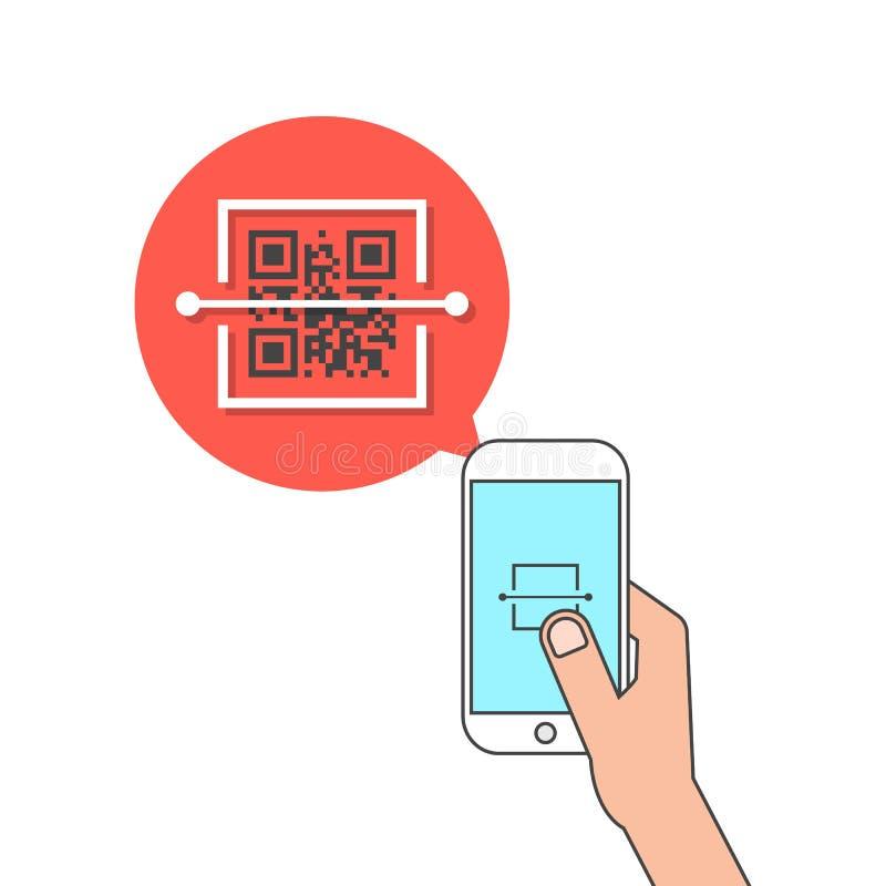 Téléphone de participation de main et code de qr de balayage illustration stock