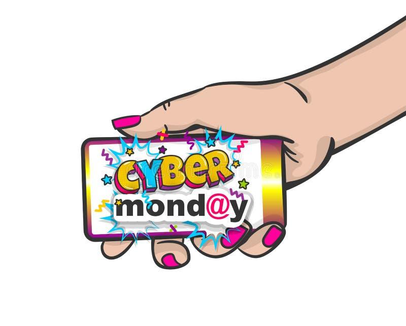Téléphone de prise d'art de bruit de main de femme de lundi de Cyber illustration de vecteur