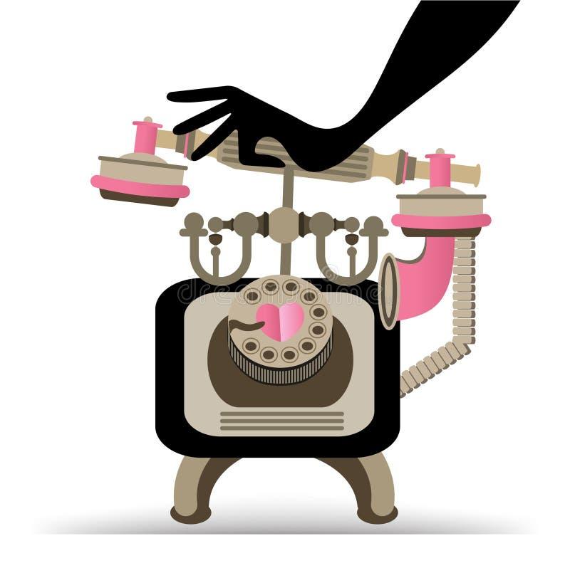 Téléphone de réponse de vintage de main illustration de vecteur