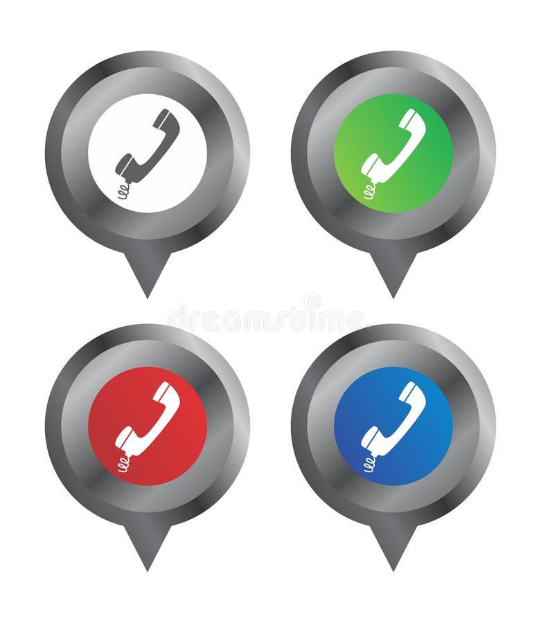Téléphone de repère de signe de carte illustration stock