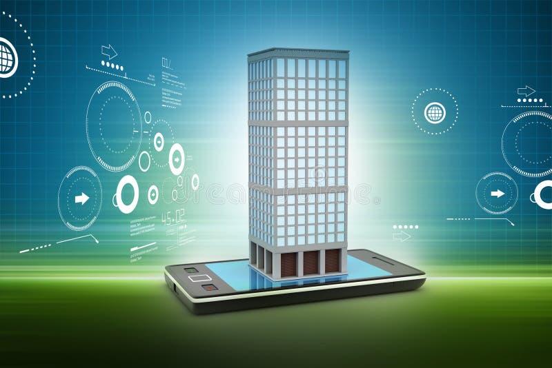 Téléphone et bâtiment futés avec le concept d'immobiliers à l'arrière-plan de couleur illustration de vecteur