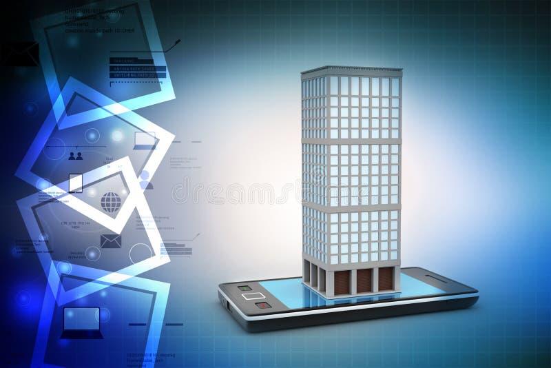 Téléphone et bâtiment futés avec les immobiliers illustration de vecteur