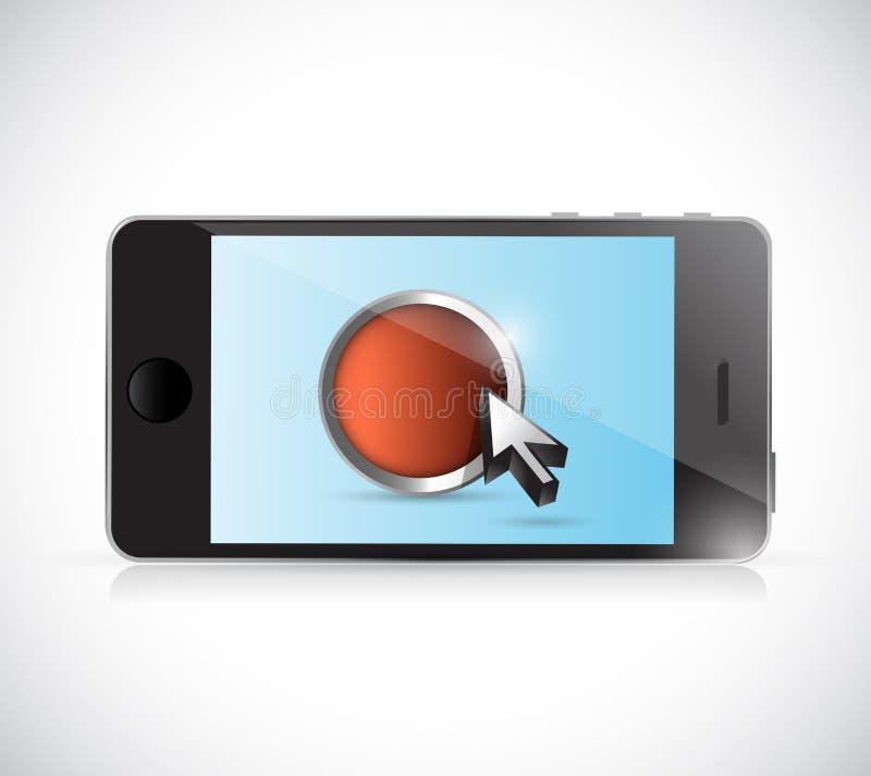 Téléphone et bouton Conception d'illustration illustration de vecteur
