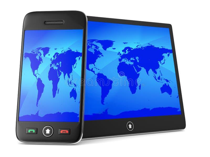 Téléphone et comprimé sur le fond blanc illustration libre de droits