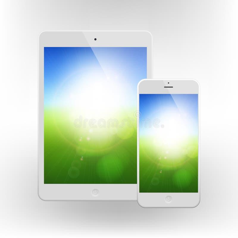 Téléphone et Tablette blancs d'affaires avec le fond ensoleillé trouble illustration stock