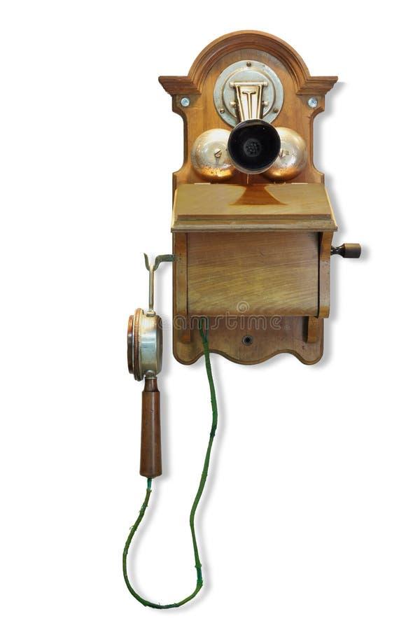 Téléphone fixé au mur avec l'appel de magnéto. images stock