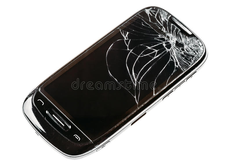 Téléphone intelligent avec l'écran cassé criqué d'isolement au-dessus de Backg blanc image libre de droits