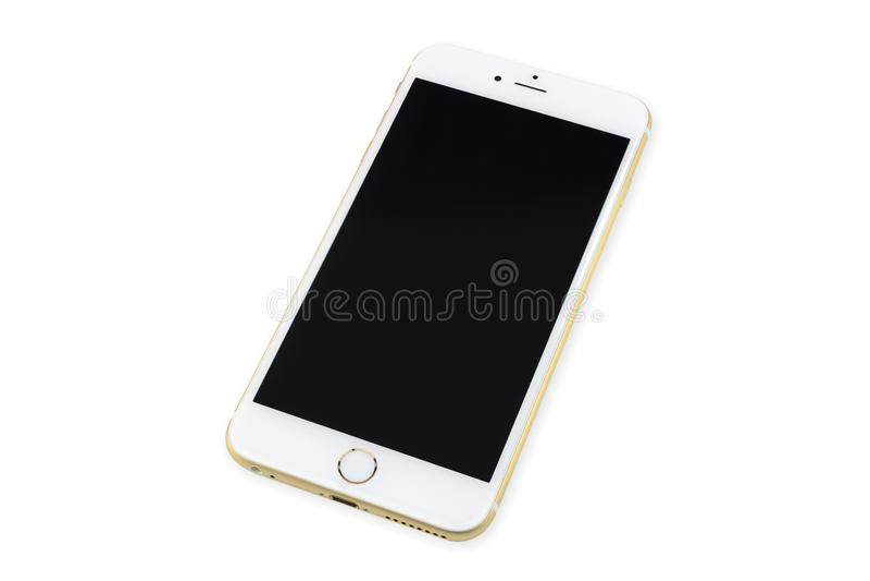 Téléphone intelligent avec l'écran noir d'isolement sur le blanc image libre de droits