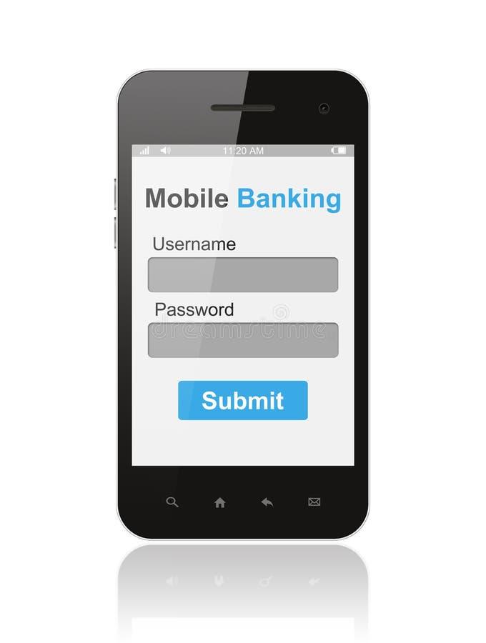 Téléphone intelligent avec l'élément mobile d'ui de forme de login d'opérations bancaires sur son écran illustration de vecteur