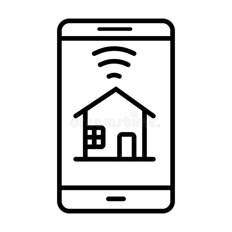 Téléphone intelligent avec la maison futée illustration de vecteur
