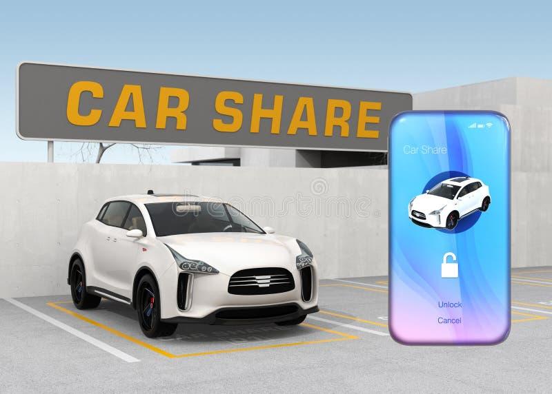 Téléphone intelligent avec la voiture partageant l'APP devant la voiture blanche illustration libre de droits