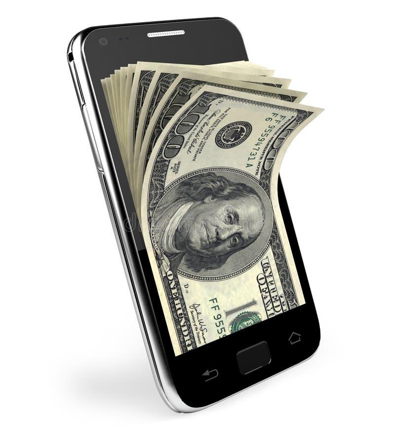 Téléphone intelligent avec le concept d'argent. Dollars. illustration stock