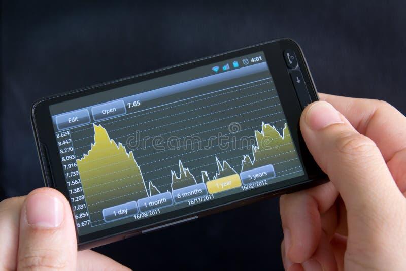 Téléphone intelligent avec le diagramme courant photographie stock