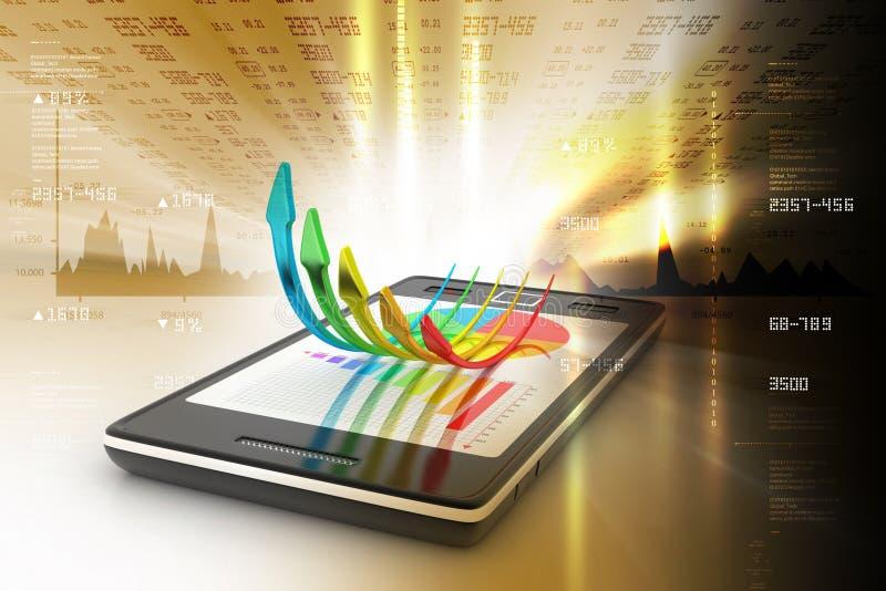 Téléphone intelligent avec les flèches croissantes illustration stock