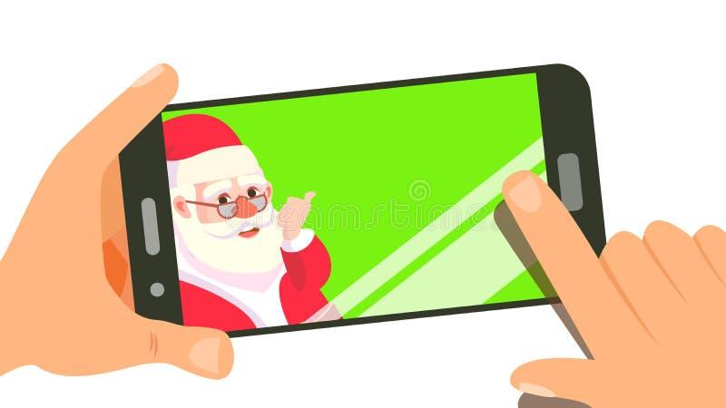 Téléphone intelligent avec Santa Vector mignonne Joyeux Noël et bonne année Concept de vente d'achats Illustration d'isolement illustration stock