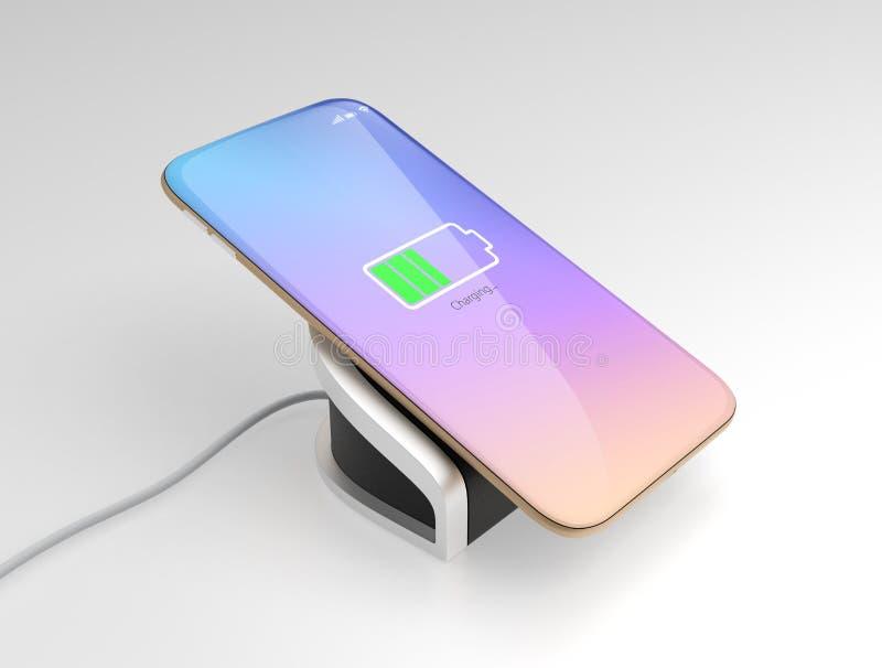 Téléphone intelligent chargeant sur le chargeur sans fil illustration libre de droits
