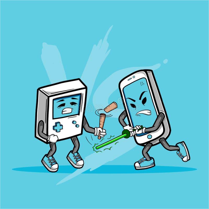 Téléphone intelligent contre la vieille console de jeu illustration stock