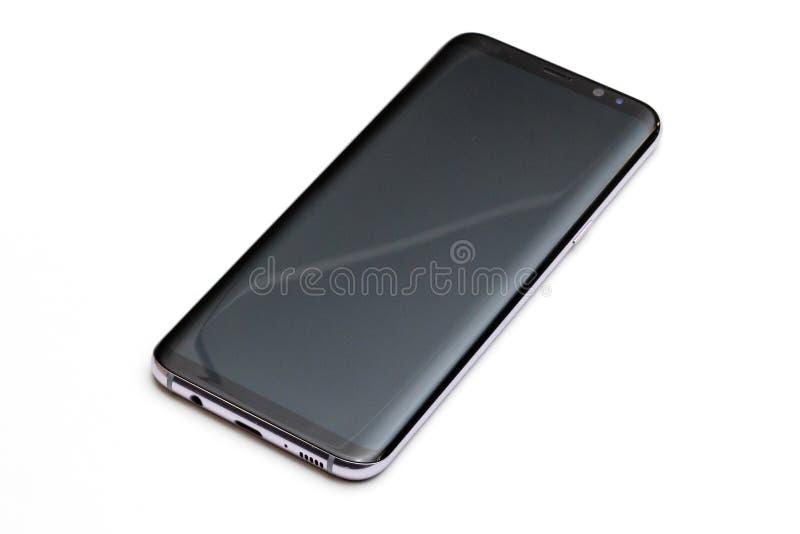 Téléphone intelligent d'isolement sur le blanc images stock