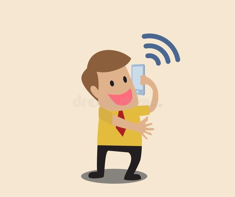 Téléphone intelligent d'utilisation d'homme d'affaires avec le symbole de wifi illustration libre de droits