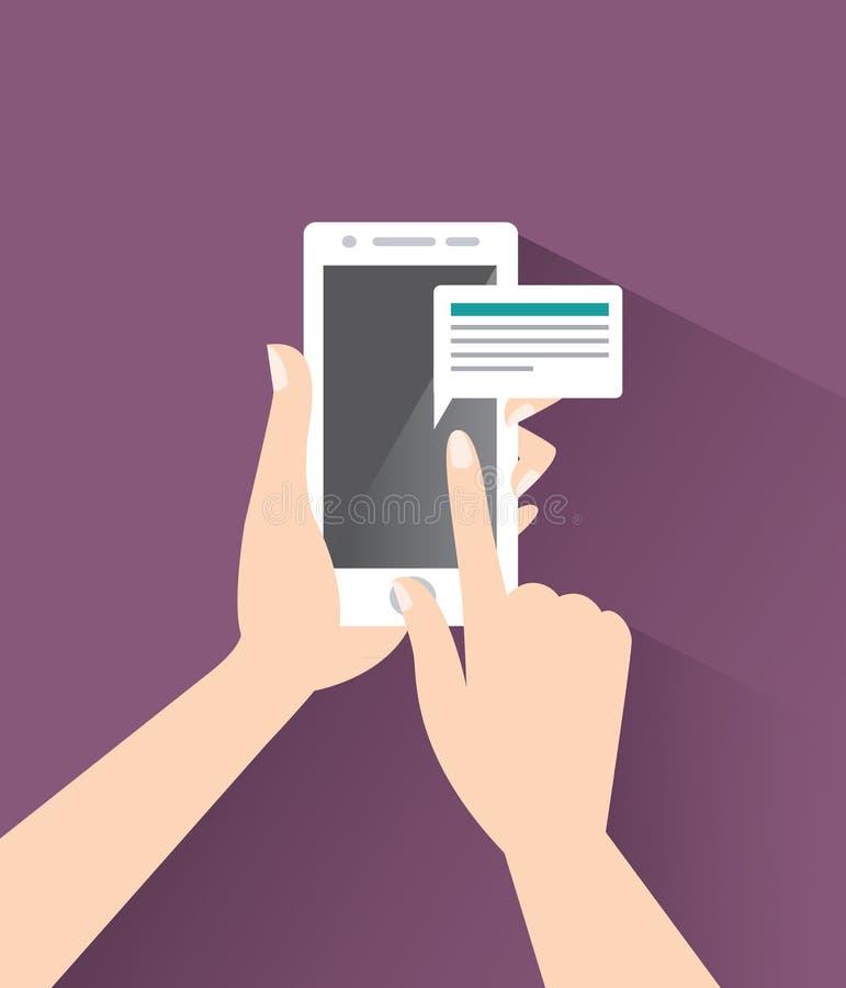 Téléphone intelligent dans les mains illustration libre de droits