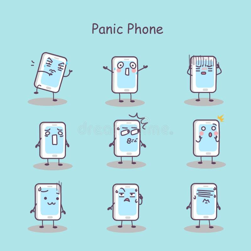Téléphone intelligent de bande dessinée de panique illustration libre de droits
