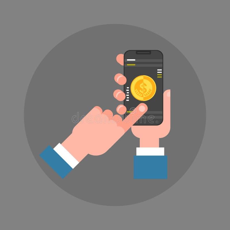 Téléphone intelligent de prise de main d'homme d'affaires faisant l'icône mobile de paiement illustration de vecteur