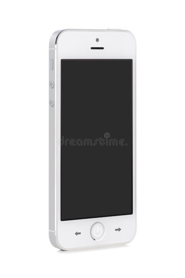 Téléphone intelligent mobile moderne blanc avec l'écran vide photos stock