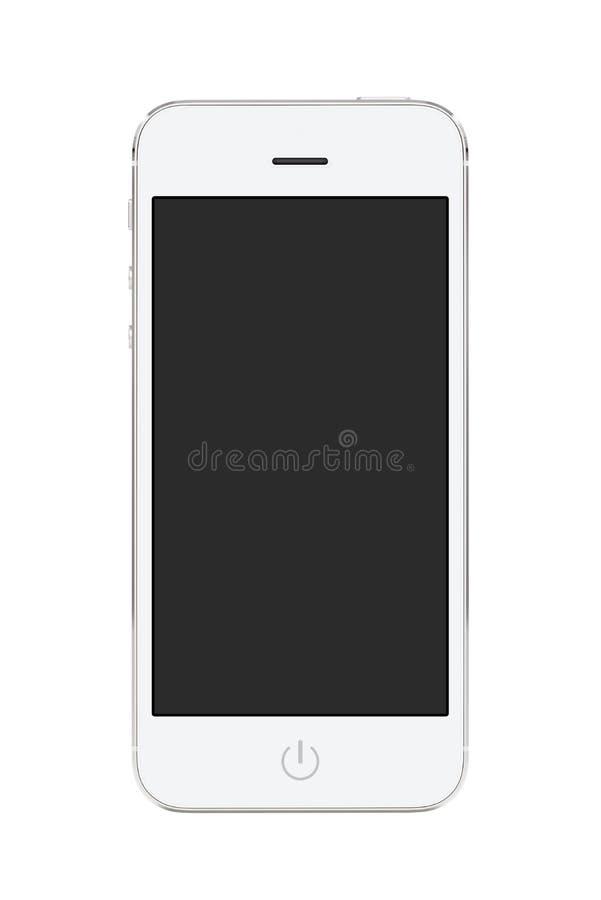 Téléphone intelligent mobile moderne blanc avec l'écran vide images stock