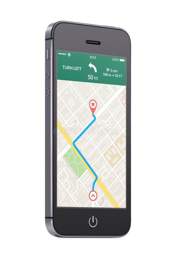 Téléphone intelligent mobile moderne noir avec la navigation APP de généralistes de carte sur t photographie stock libre de droits