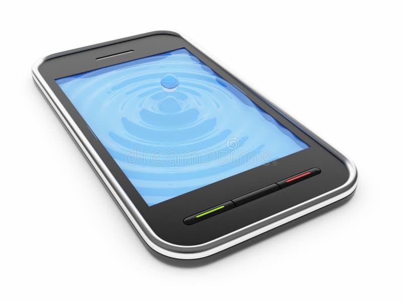 Téléphone intelligent mobile noir avec l'écran aqueux 3D illustration de vecteur