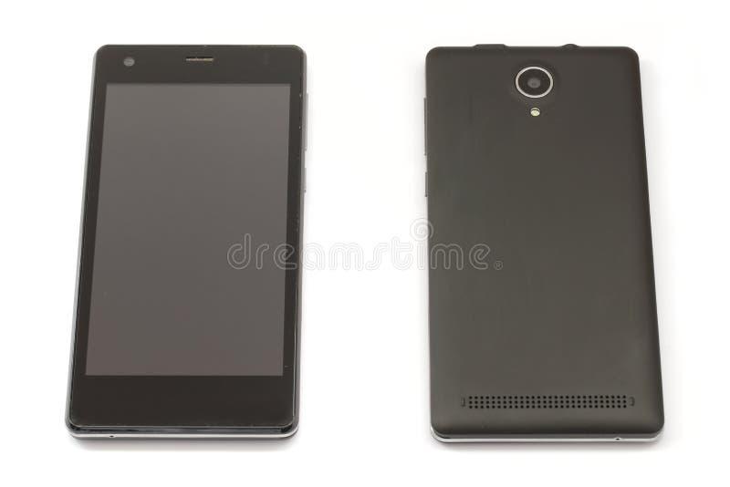 Téléphone intelligent mobile noir et couverture arrière d'isolement sur le blanc photos libres de droits