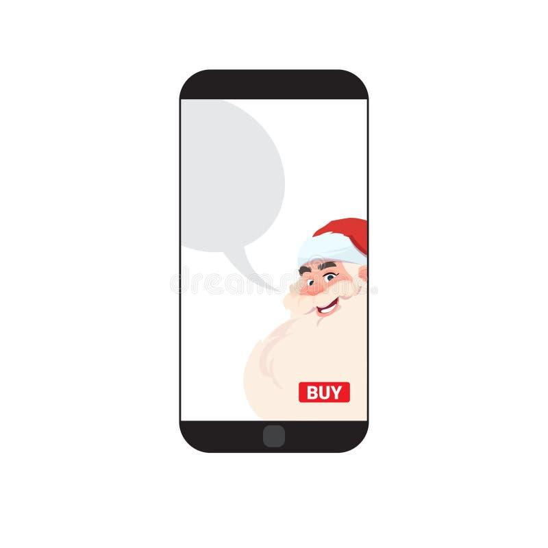 Téléphone intelligent moderne avec le message de salutation de bonne année de Santa Image Merry Christmas And illustration libre de droits