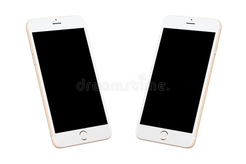 Téléphone intelligent moderne blanc d'or d'isolement illustration libre de droits