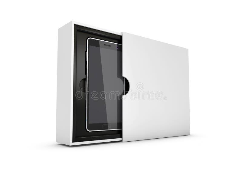 Téléphone intelligent moderne dans la boîte Écran noir pour la maquette, blanc d'isolement illustration 3D illustration de vecteur