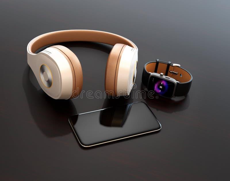 Téléphone intelligent, montre intelligente et écouteur sans fil sur la table brillante foncée images stock