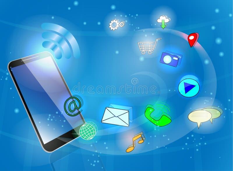 Téléphone intelligent noir avec des icônes image stock