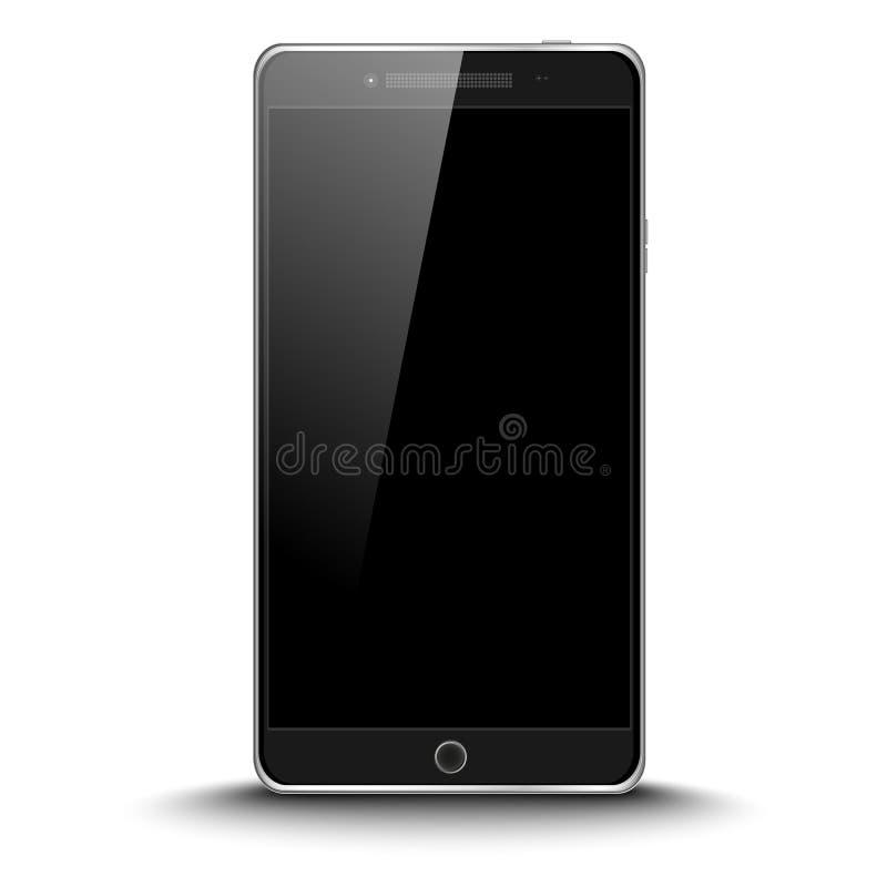 Téléphone intelligent noir moderne parfaitement détaillé d'isolement sur le fond blanc Écran protecteur illustration stock