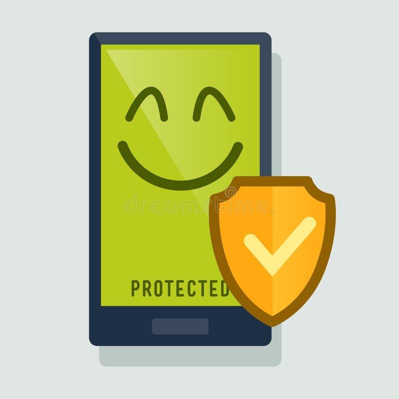 Téléphone intelligent protégé avec l'anti virus illustration stock
