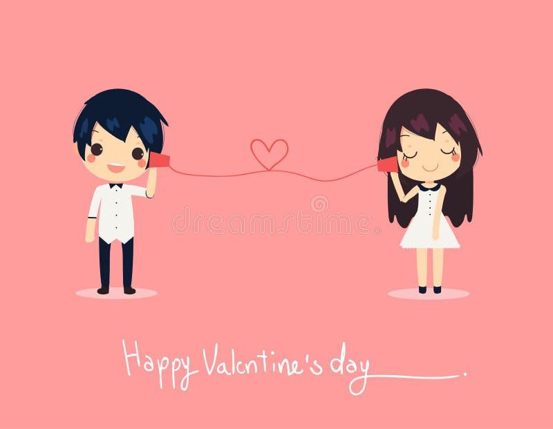 Téléphone mignon de papier d'appel de couples de carte valentine heureuse de chemise habillée illustration libre de droits