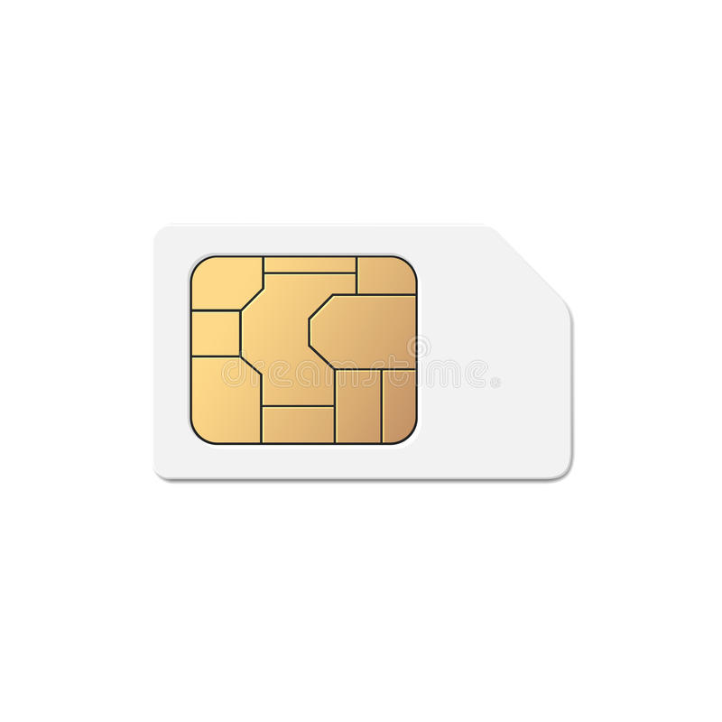 Téléphone mobile mobile Sim Card Chip Isolated dessus illustration stock