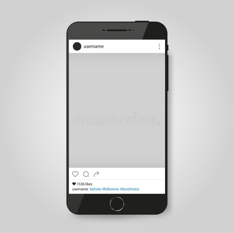 Téléphone moderne réaliste avec le cadre social de photo de réseau illustration de vecteur